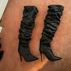 Fashion Nova Leather Ruched Heeled Boots (NEW)